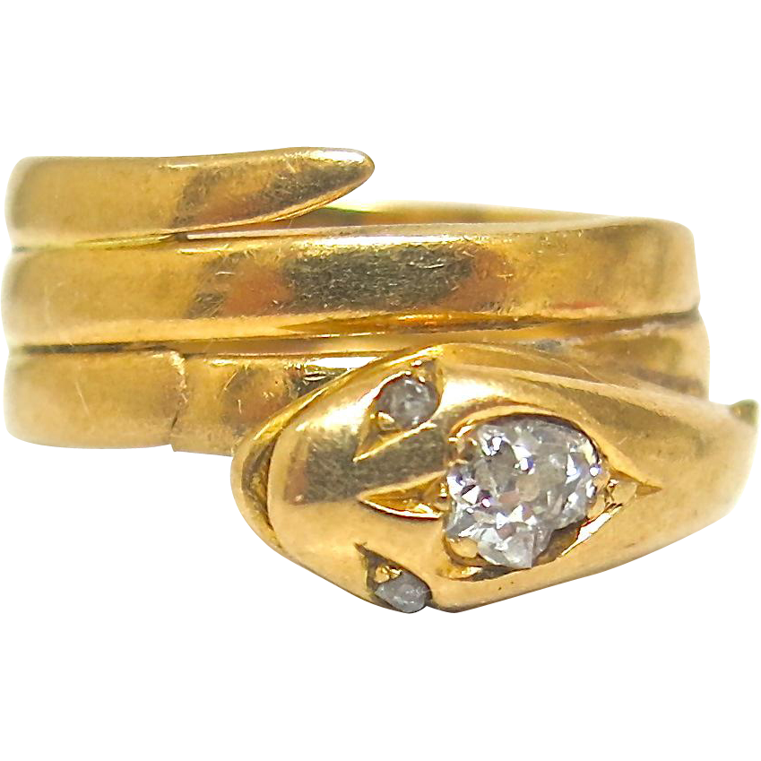 Victorian 18K Gold Snake Ring With Diamonds
