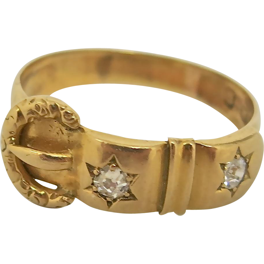 Handsome Victorian Buckle Ring in 18K Gold