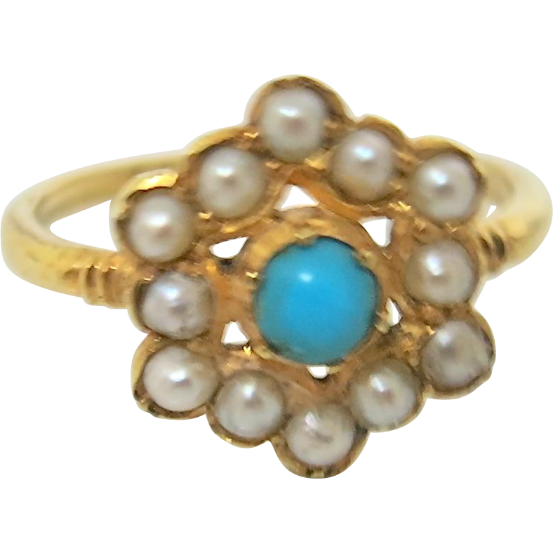 Late Victorian Pearl Cluster Ring with Turquoise
