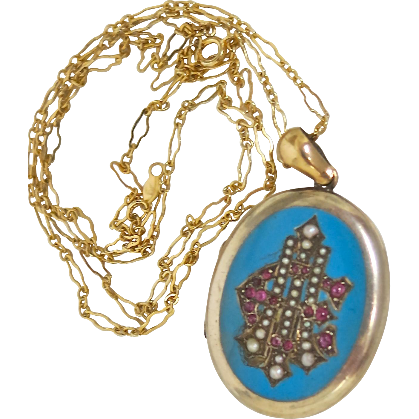 Victorian Locket--Striking Color--With Pearls & Rubies
