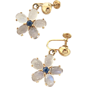 Natural Cabachon Moonstone & Sapphire Earrings