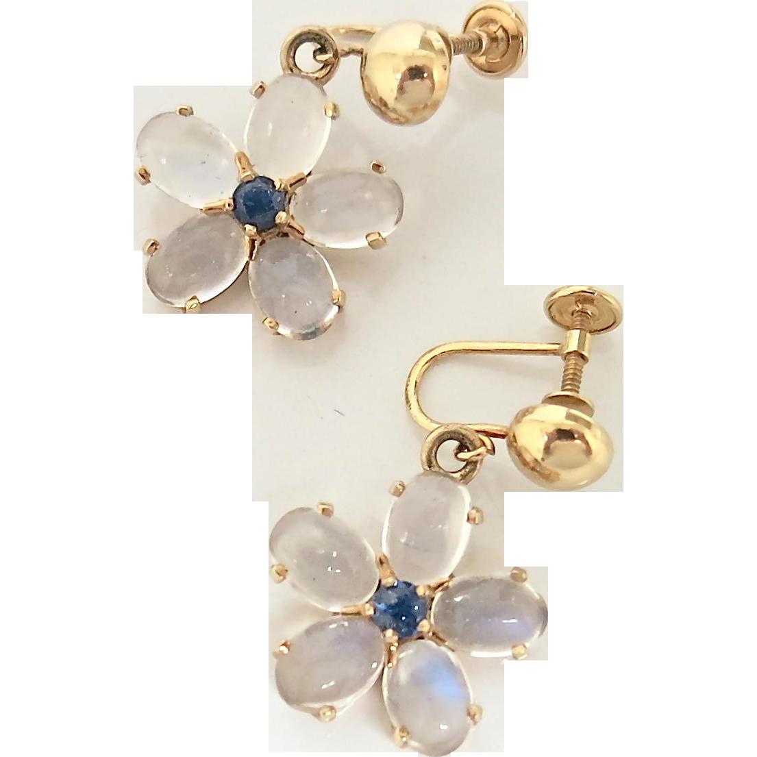 Natural Cabachon Moonstone & Sapphire Earrings