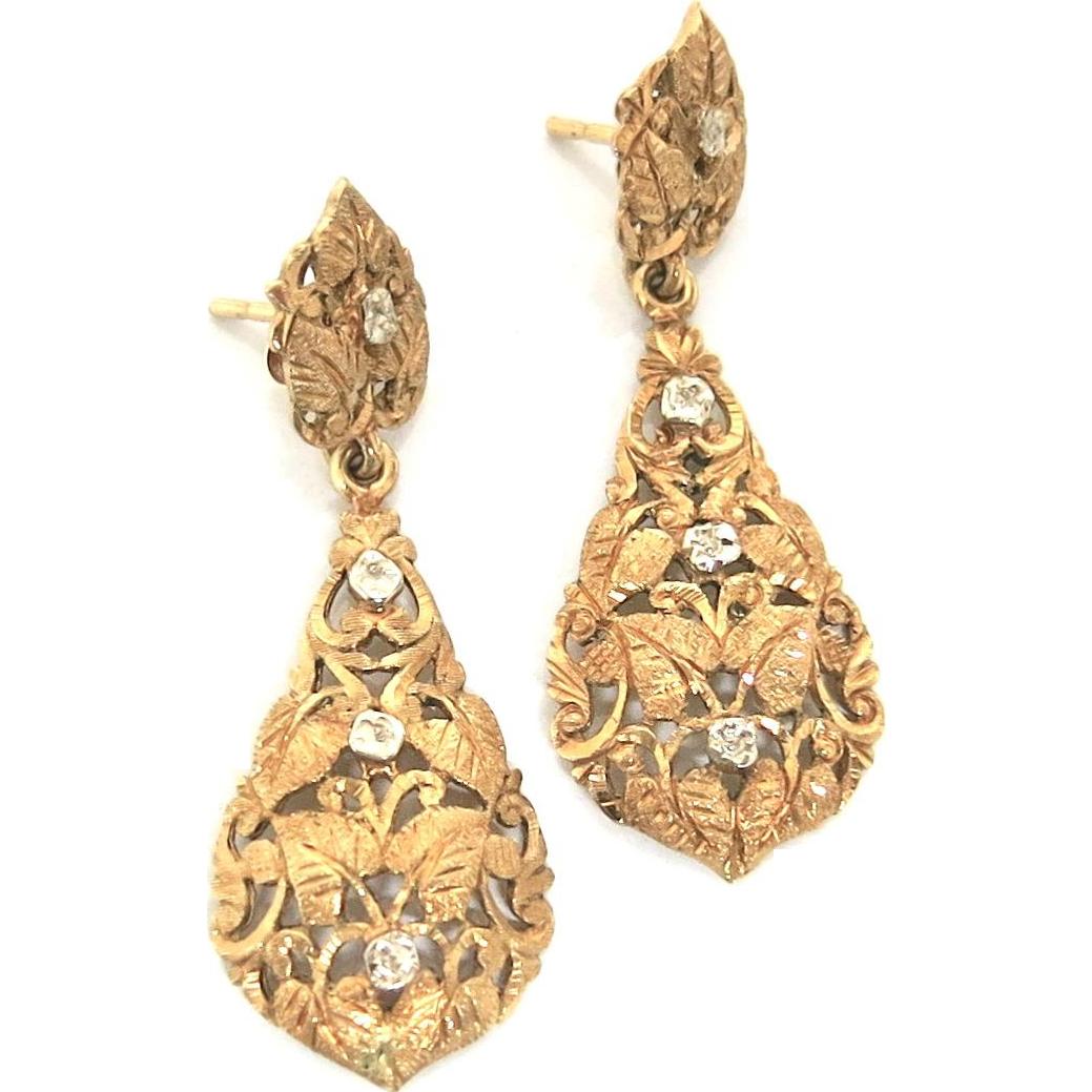 Clearly Classy--Edwardian Dangle Earrings in 18K Gold