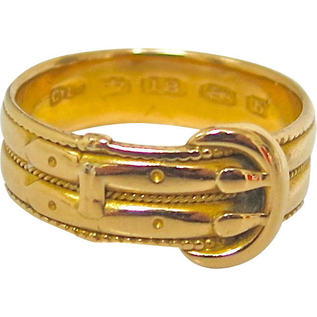 English Victorian 18K Gold Buckle Ring