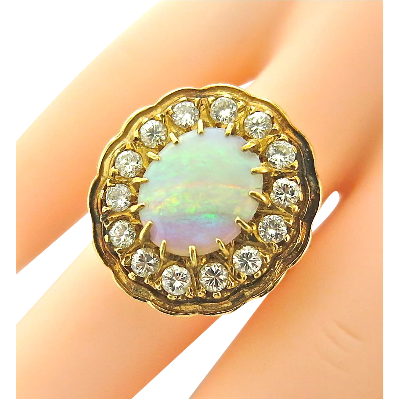 Art Deco Opal & Diamond Cluster Ring