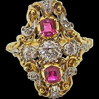 Dazzling Diamond & Ruby Victorian Ring