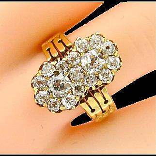 Stunning Victorian Double Cluster Diamond Ring
