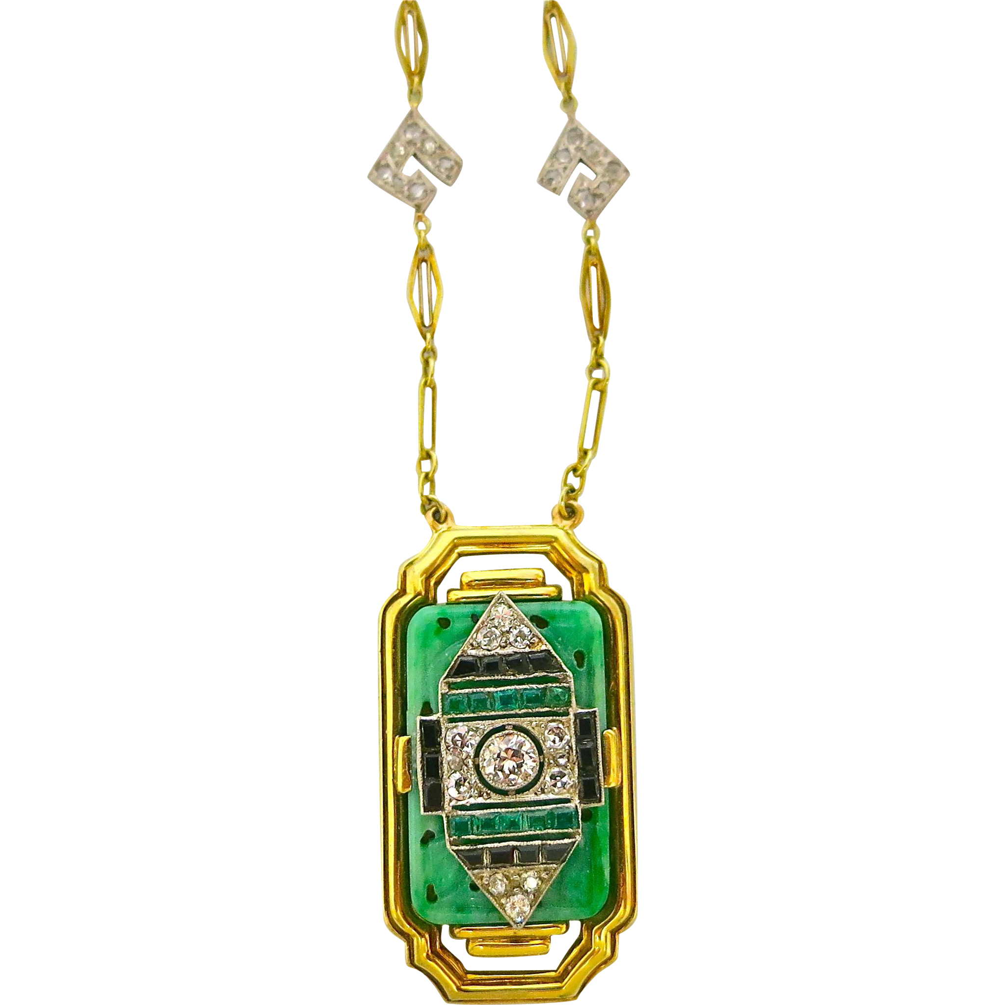 Art deco 14K Gold, Platinum, Diamond, Jade, Onyx & Emerald Necklace