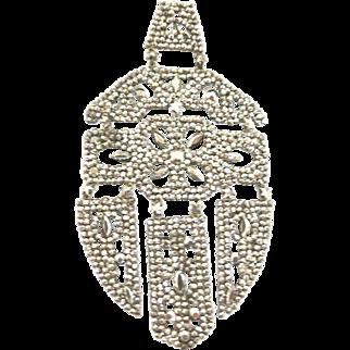 Georgian Pendant in Cut Steel--With an Art Deco Design