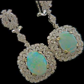 Eye Catching Estate Opal & Diamond Earrings
