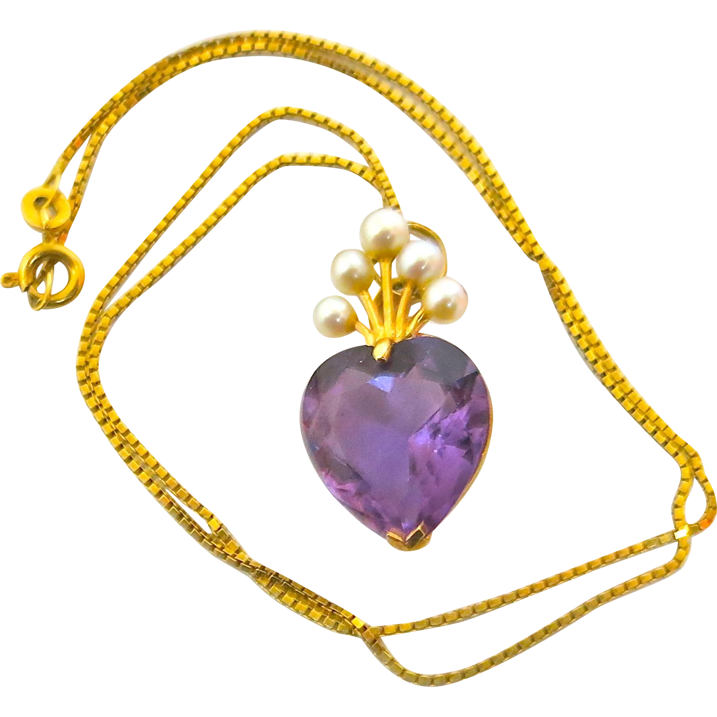 Charming Vintage--Amethyst & Pearl Pendant