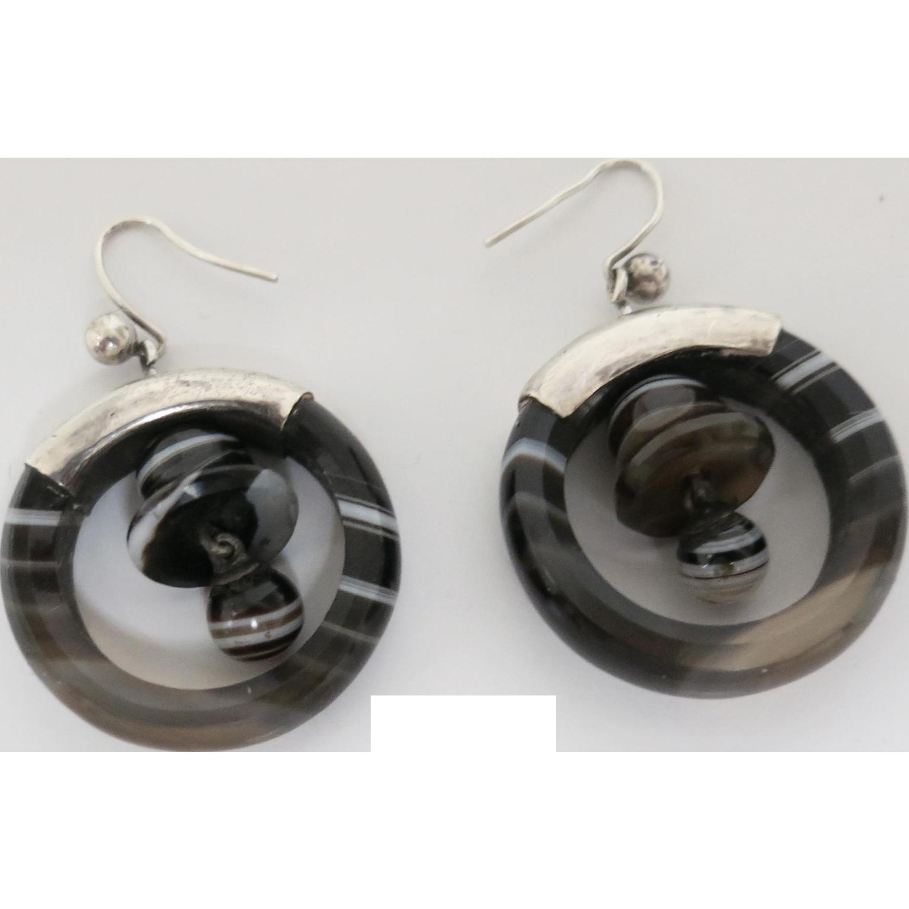 "Unusual Victorian Banded Agate ""Bell"" Earrings"