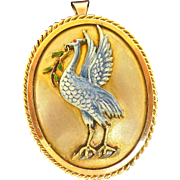 "Whimsical Late Victorian Enamel ""Bird"" Pendant/Brooch"