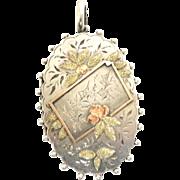 Desirable Victorian Sterling & Rose Gold Locket