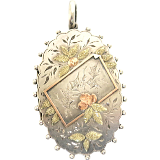 Desirable Victorian Sterling & Rose Gold Locket