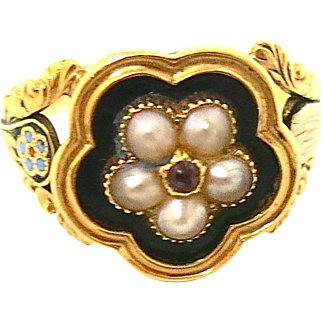 Victorian Memorial Ring With Pearls & Ruby