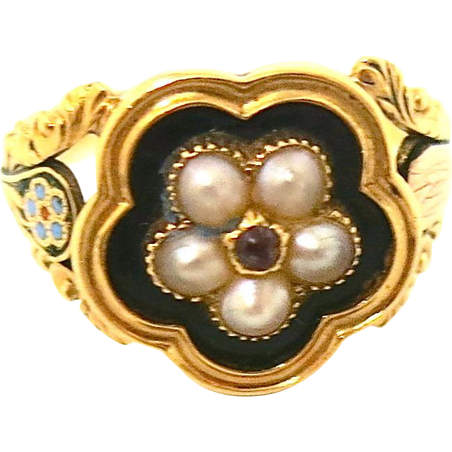 Victorian Memorial Ring With Pearls Amp Ruby From Thepearl