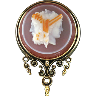 Rare Victorian Three Faces Hardstone Cameo