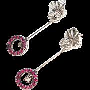 Delicate Vintage Ruby & Diamond Earrings