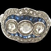 Triple Treat--Deco Diamond & Sapphire Ring