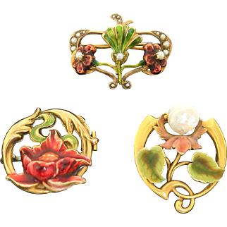 Three For One--Awesome Art Nouveau Brooch Group