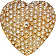 Classic Edwardian Pave Pearl Heart With Diamond