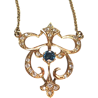 Diamonds & Sapphire--Delicate Art Nouveau Lavelier In 14K Gold