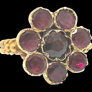 Charming Georgian Garnet Cluster Ring