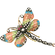 Striking Art Nouveau Plique A Joure Insect Brooch