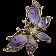 Art Nouveau Buttery Brooch--Enamel on 14K Gold
