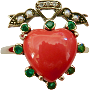 Contemporary 9 K Heart Ring With Coral, Emeralds 3 Diamonds