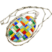 Color, Color, Color--Victorian Sterling Locket & Chain