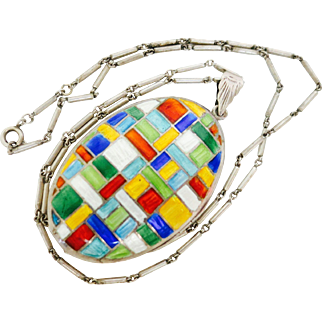 Color, Color, Color--Victorian Sterling Locket & Chain