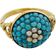 Victorian Turquoise & Seed Pearl Ring in 14K Mounting