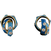Stunning Small Art Nouveau 18K Enamel & Diamond Earrings