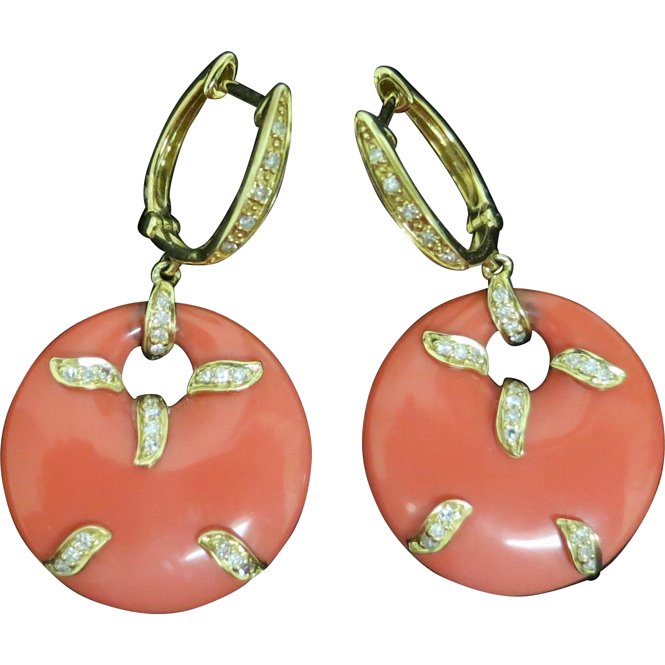 Classy Coral Earrings With Diamond Highlights