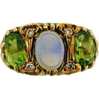 Standout Victorian Combination--Peridot & Opal Ring