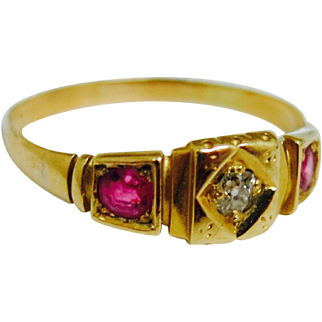 Antique 18K Gold Victorian Ring--Ruby & Diamonds