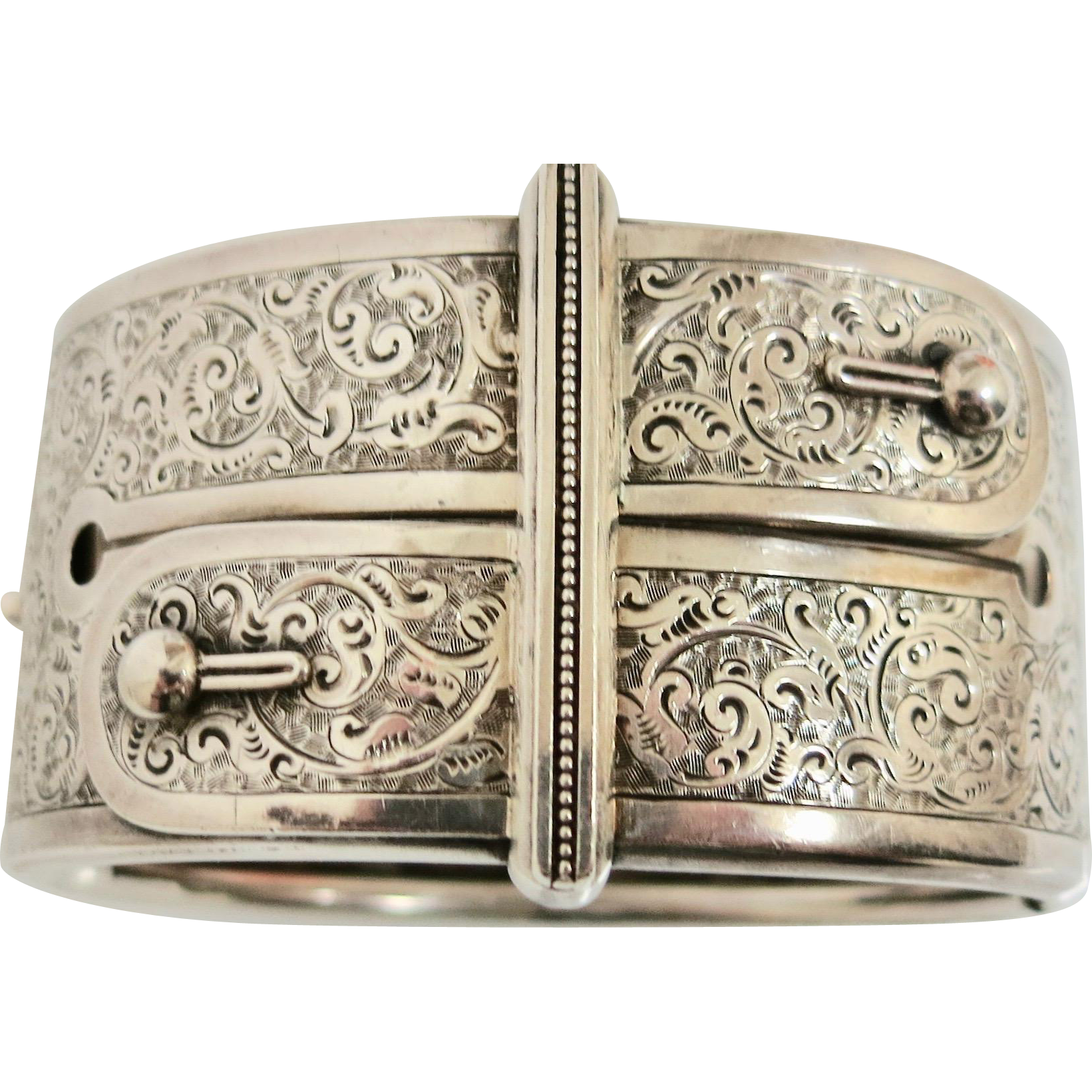 Striking Victorian Sterling Silver Bangle/ Bracelet