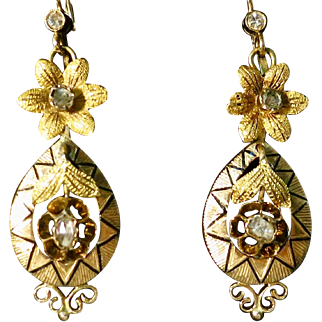 Victorian 18K Gold, Enamel & Rose Cut Diamond Earrings