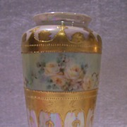 Antique Limoges France Gold Enameled Cameo Vase Hand-painted with Delicate Yellow Roses against a Mother-of-Pearl Lusterware background- Charming!
