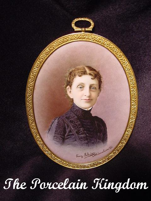 Antique Portrait Victorian Woman Porcelain Framed Miniature Portrait Artist Signed Franz Schier Munich 1891