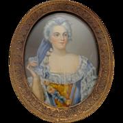 Framed miniature portrait after Le Brun artist signed Madam Tyslui