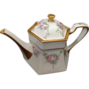 Lenox Belleek teapot hand painted roses and heavy gold