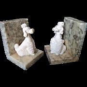 Vintage 1950's Italian Alabaster Chalk Ware Poodle Bookends