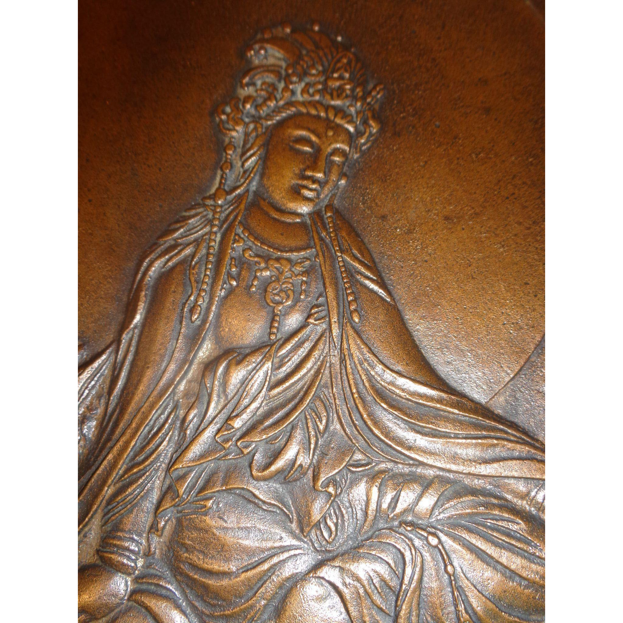 Vintage Bronze Hindu Goddess Plaque
