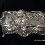 Large antique silver metal spelter Art Nouveau poppy casket