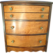 Child's miniature burl walnut dresser doll chest of drawers C. 1940