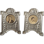 Pair French miniature picture photo frames with cherubs and rose garlands artist signed
