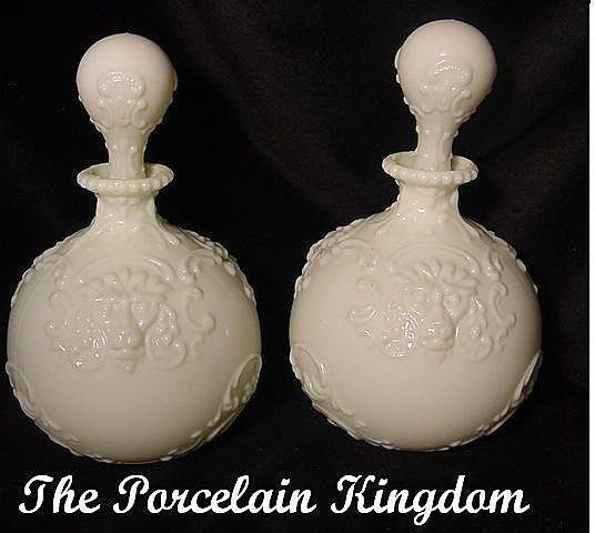 Monkey Face Victorian Milk Glass Cologne Barber Bottles Pair Dresser Bottles